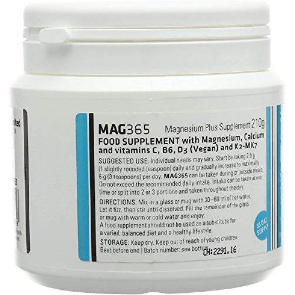 Mag365 Calcium Supplement 3 Vegan Magnesium Powder Plus Calcium & Zinc - Promotes Bone Support - Vitamins D3 & K2 - 210g