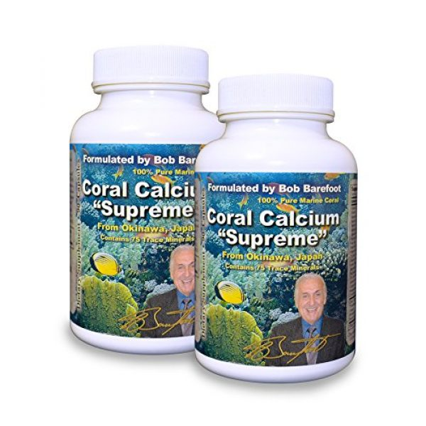 Robert Barefoot Calcium Supplement 1 Bob Barefoot Coral Calcium Supreme 1000mg - 2 Bottles - 90 Caplets Each - New Improved Formula - Made From Pure Marine Grade Okinawa Coral Calcium - With Essential Vitamins + 75 Trace Minerals