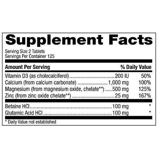 Natural Vitamin Co. Calcium Supplement 4 Natural Vitamin Co. - Cal-Mag-Zinc with Vitamin D3, Calcium 1000mg, Magnesium 500mg, Zinc 25mg, D3 200 IU, 250 Tablets, 4 Month Supply, Gluten Free, Vegetarian