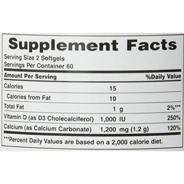Nature's Bounty Calcium Supplement 3 Nature's Bounty Calcium 1200 Mg. Plus Vitamin D3, 240 Softgels (2 X 120 Count Bottles)