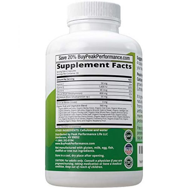Peak Performance Calcium Supplement 2 Raw Whole Food Vegan Calcium Supplement by Peak Performance. Plant Based Calcium with Vitamin C, D3, K, Magnesium. Capsules for Bone, Joints. with 25 Organic Vegetables and Fruits 120 Pills, Tablets