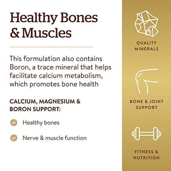Solgar Calcium Supplement 4 Solgar Calcium Magnesium Plus Boron, 250 Tablets - Promotes Bone Health, Supports Nerve & Muscle Function - with Boron for Calcium Metabolism - Vegan, Gluten Free, Dairy Free, Kosher - 83 Servings
