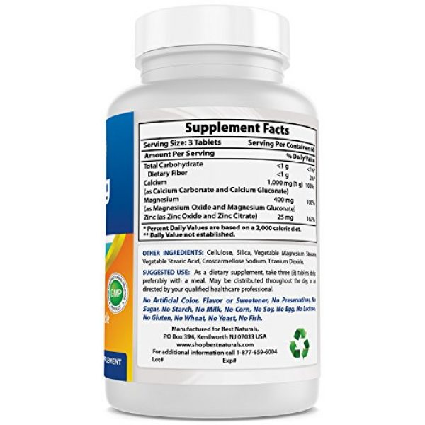 Best Naturals Calcium Supplement 6 #1 CAL MAG ZINC by Best Naturals - Essential Mineral Complex - Manufactured in a USA Based GMP Certified Facility and Third Party Tested for Purity. Guaranteed!!, 180 Tablets