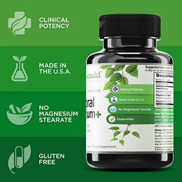 Emerald Labs Calcium Supplement 4 Coral Calcium Plus -Highly Ionizable Coral Calcium from the Caribbean Sea - Helps Balance pH Levels, Support Strong Bones & Teeth, Weight Loss - Emerald Laboratories - 120 Vegetable Capsules