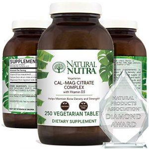 Natural Nutra Calcium Supplement 1 Natural Nutra Cal-Mag Citrate with Vitamin D3, Calcium, Magnesium, 1000/500 mg Complex, Strengthen Bone Density, Muscle and Nerve Health, Highly Bioavailable Sources of Ascorbate, 250 Vegan Tablets