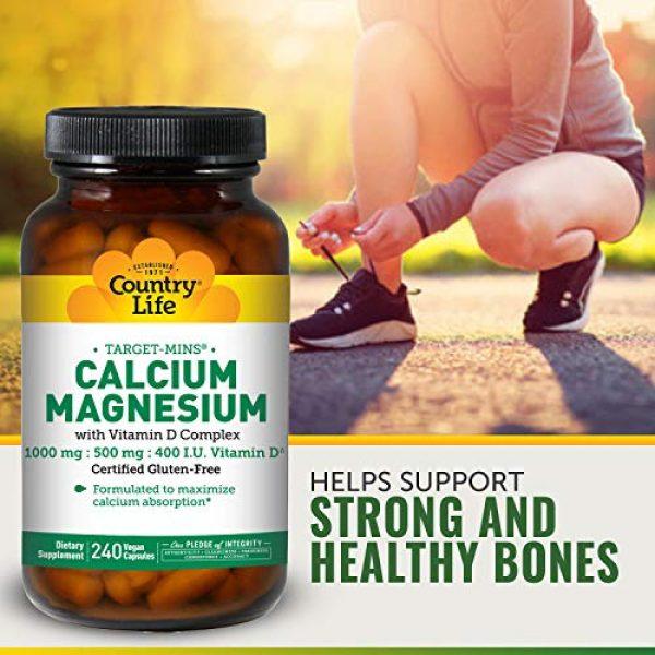 Country Life Calcium Supplement 6 Country Life, Calcium Magnesium, w/Vitamin D Complex, 240 Veggie Caps
