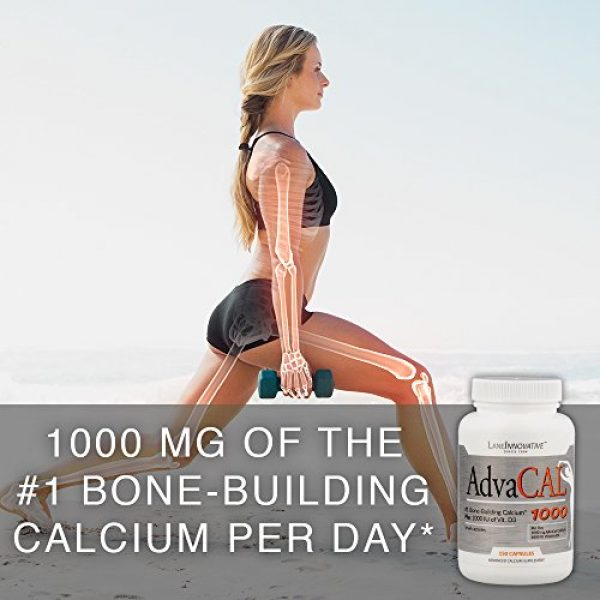 Lane Innovative Calcium Supplement 6 Lane Innovative - AdvaCAL 1000, Advanced Calcium Supplement, Easy to Swallow Extra Small Capsule, Supports Increased Bone Density (150 Capsules)