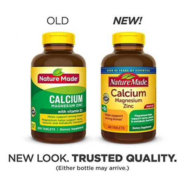 Nature Made Calcium Supplement 2 Nature Made Calcium, Magnesium Oxide, Zinc with Vitamin D3 helps support Bone Strength, Tablets, 300 Count