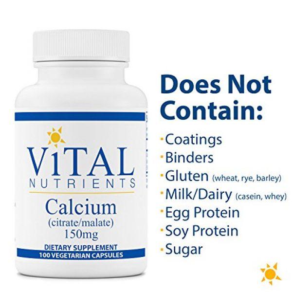 Vital Nutrients Calcium Supplement 5 Vital Nutrients - Calcium (Citrate/Malate) - Most Bioavailable Form of Calcium - 100 Vegetarian Capsules per Bottle - 150 mg