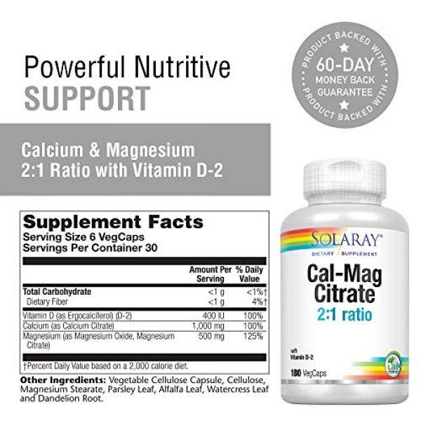 Solaray Calcium Supplement 2 Solaray Cal-Mag Citrate Capsules with Vitamin D 2:1 Ratio, 180 Count