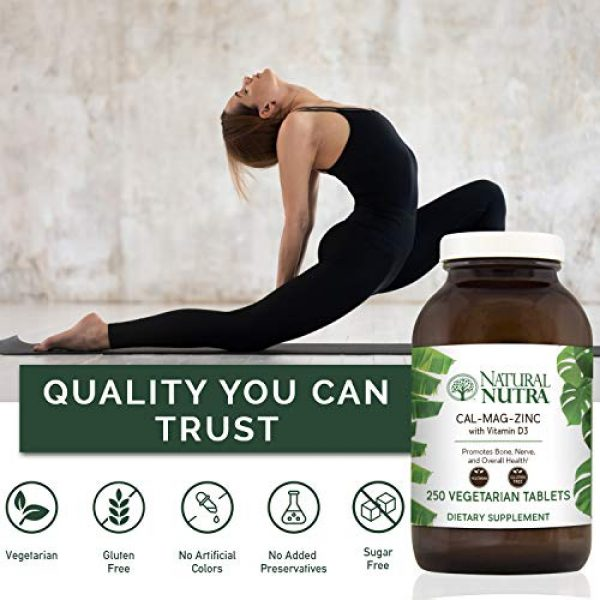 Natural Nutra Calcium Supplement 4 Natural Nutra Calcium Magnesium Zinc Supplement with Vitamin D3 for Bone Strength, Healing and Health, Gluten Free and Sugar Free, Essential Mineral Complex, 1000/500/25 mg (250 Count)
