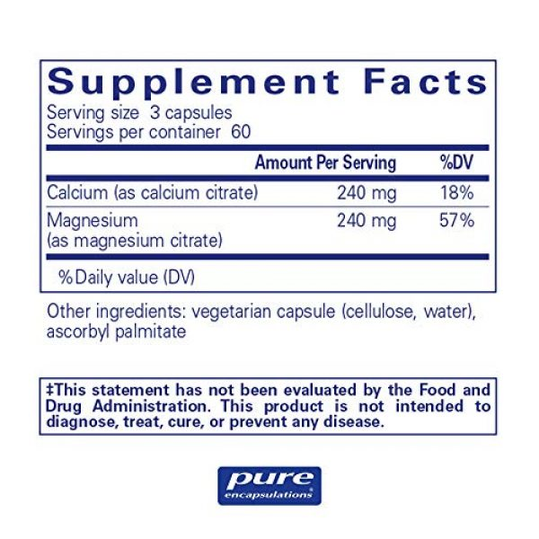 Pure Encapsulations Calcium Supplement 2 Pure Encapsulations Calcium Magnesium (Citrate) | Supplement for Bone Strength, Muscle Cramp and Tension Relief, Teeth, and Cardiovascular Health* | 180 Capsules