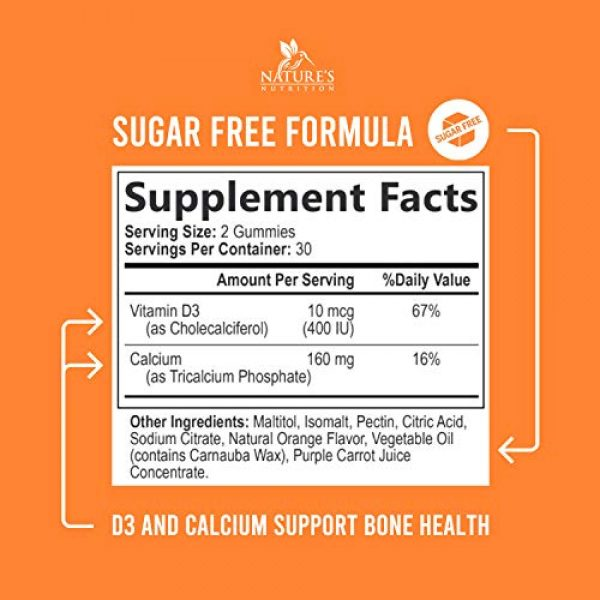Nature's Nutrition Calcium Supplement 2 Sugar Free Calcium Gummies with Vitamin D3 - Supports Healthy Bones and Teeth - Highly Concentrated Calcium and Vitamin D Gummy Chews for Men and Women, Non-GMO - 60 Gummies
