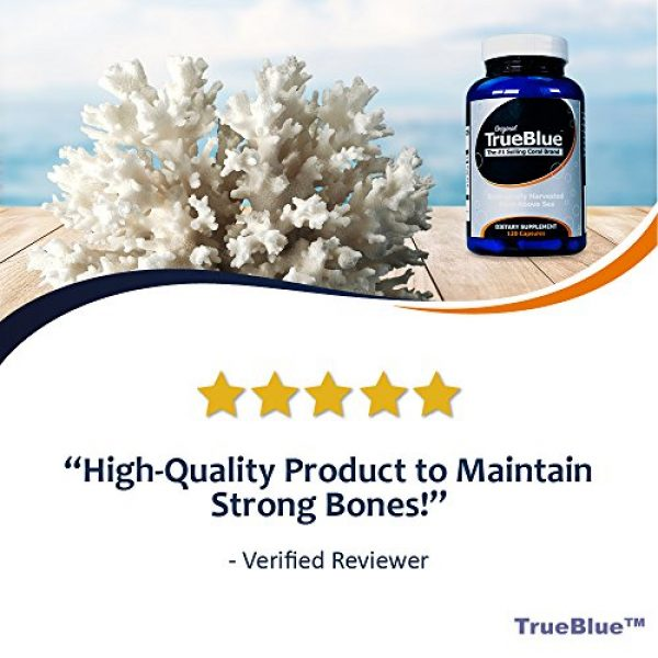 True Blue Calcium Supplement 6 Premium Coral Calcium Supplement - Pure Coral Capsules (120 Gelatin Caps) - from Okinawa Japan with 73 Vital Minerals and Elements - Contains Magnesium and Vitamin D3-40-Day Supply