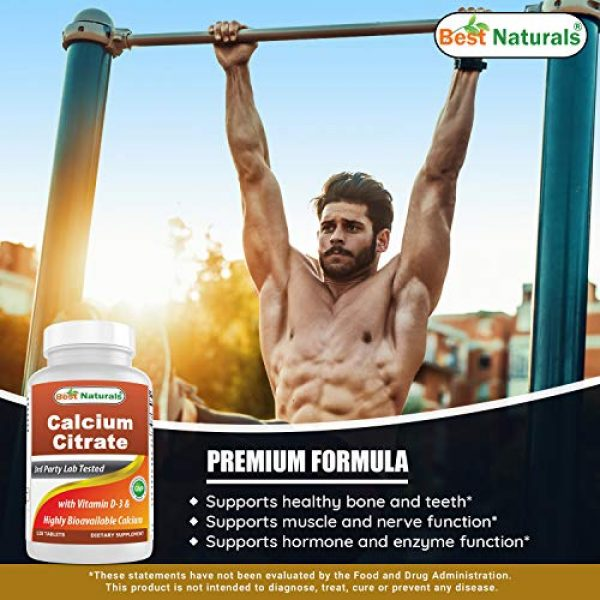 Best Naturals Calcium Supplement 4 Best Naturals Calcium Citrate with Vitamin D-3 120 Tablets