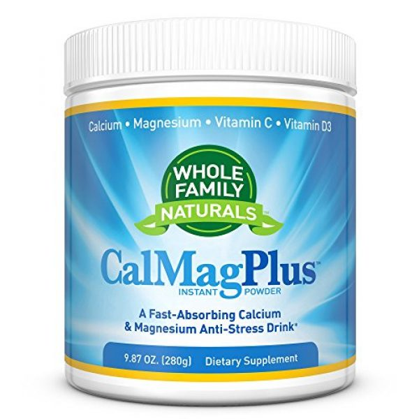 Whole Family Naturals Calcium Supplement 1 Calcium Magnesium Powder Supplement - CalMag Plus with Vitamin C & D3 - Gluten Free, Non GMO, Unflavored - Natural Calm & Stress Relief Cal Mag Drink - Cal-Mag for Leg Cramps