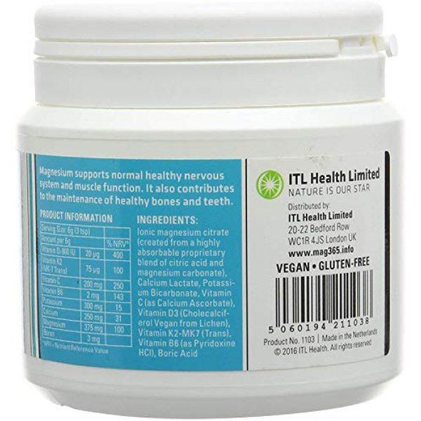Mag365 Calcium Supplement 2 Vegan Magnesium Powder Plus Calcium & Zinc - Promotes Bone Support - Vitamins D3 & K2 - 210g