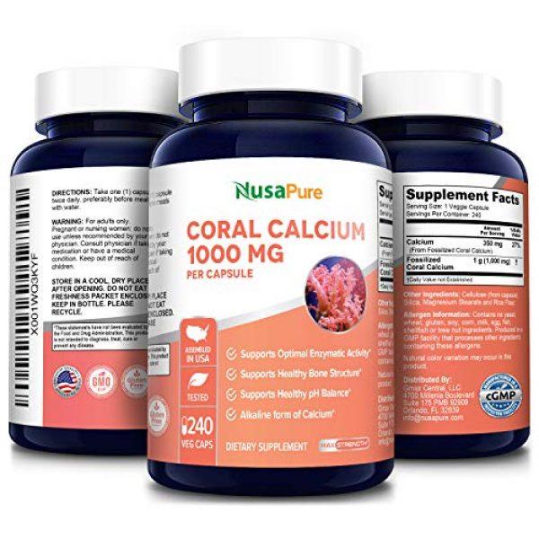 NusaPure Calcium Supplement 4 Coral Calcium 1000 mg 240 Veggie Caps (Non-GMO & Gluten-Free) Supports Bone Health & PH Levels*- Contains Magnesium, 73 Minerals and Vitamin D3