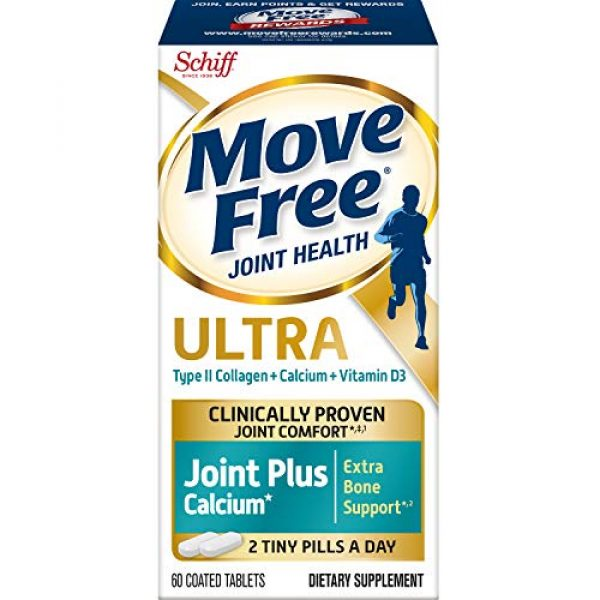 Move Free Calcium Supplement 1 Type-II Collagen, Calcium, Vitamin D3, Move Free Ultra Joint Support Tablets (60 Count In A Box), Clinically Proven to Deliver Better Joint Comfort That Improves Over Time*'1
