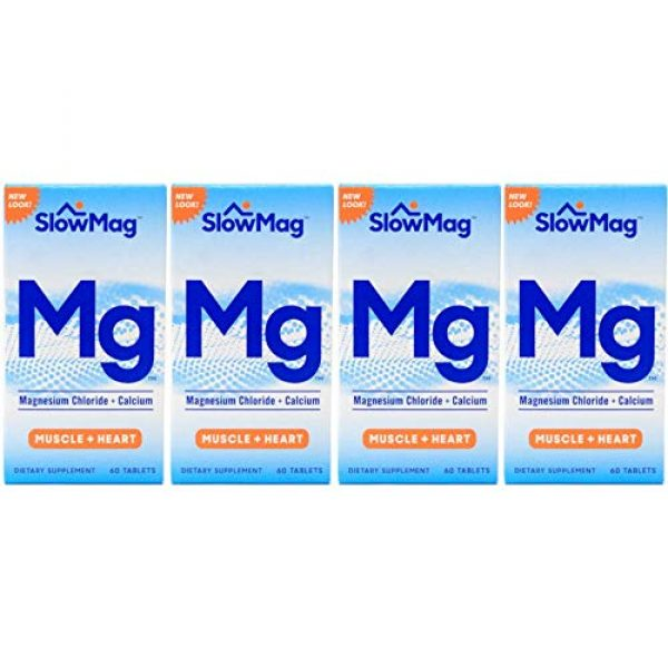 Slow-Mag Calcium Supplement 1 Slow Mag Magnesium Chloride and Calcium, 60 Tablets Each (Value Pack of 4)
