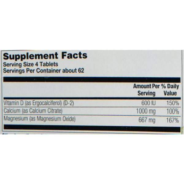 Nature's Life Calcium Supplement 4 Nature's Life Calcium Citrate and Magnesium Tablets, 1000/667 Mg, 250 Count