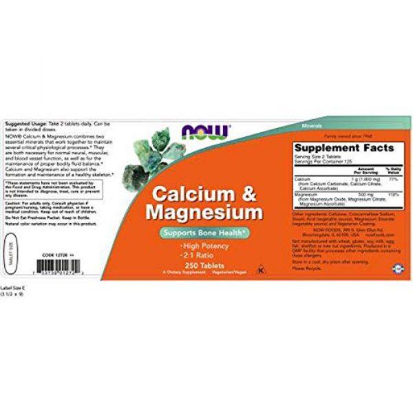 NOW Foods Calcium Supplement 2 Now Foods Calcium & Magnesium, 250 Tablets (Pack of 2)