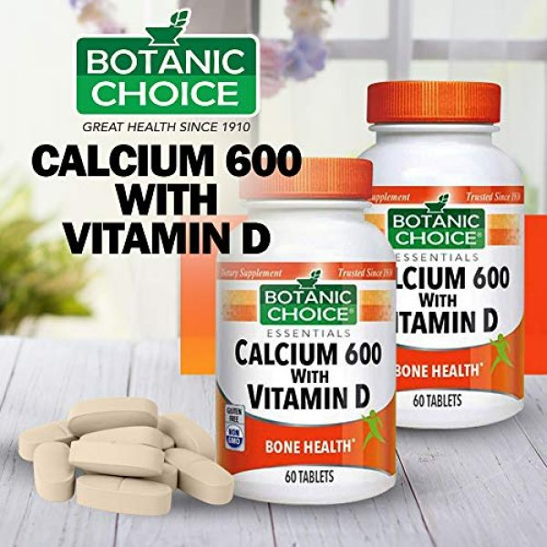 Botanic Choice Calcium Supplement 2 Botanic Choice Calcium 600 with Vitamin D - Adult Daily Supplement - Combines Essential Vitamins and Minerals to Support Proper Absorption Promotes Bone Health and Overall Wellness
