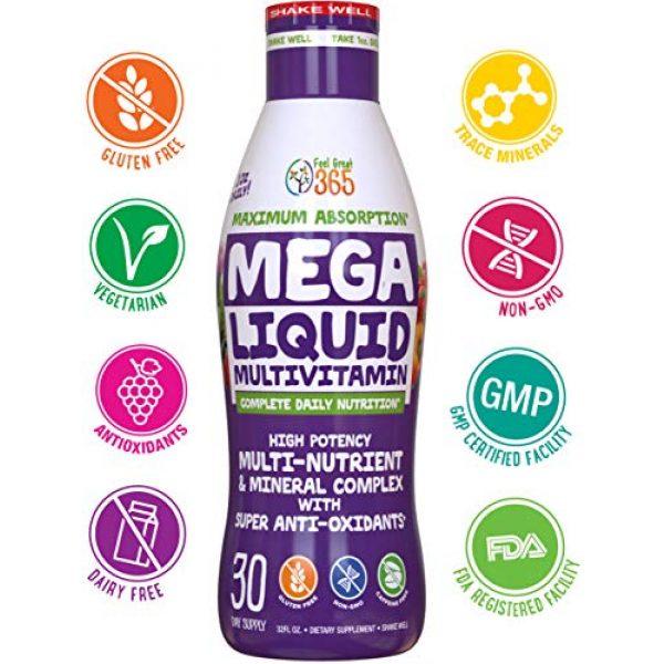 Feel Great 365 Calcium Supplement 2 Feel Great Vitamin Co. Superfood Mega Liquid Multivitamin | Natural Immune Support including Vitamins & 72 Trace Minerals, Vitamin D3, E, Glutathione, Resveratrol, Milk Thistle, Green Tea, Ginseng & More