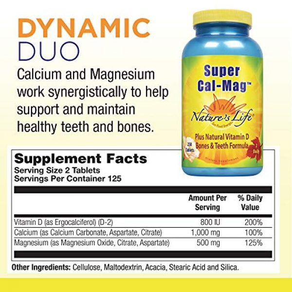Nature's Life Calcium Supplement 2 Natures Life Super Cal Mag 1000mg of Calcium & 500mg of Magnesium with Vitamin D-2 ,250 Vegetarian Tablets
