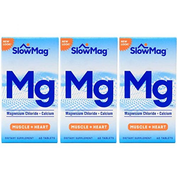 Slow-Mag Calcium Supplement 1 Slow Mag Magnesium Chloride and Calcium, 60 Tablets each (Value Pack of 3)
