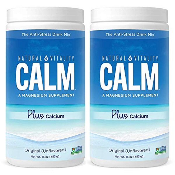 Natural Vitality Calcium Supplement 1 Natural Vitality Natural Magnesium Calm Plus Calcium, (2 Bottles of 16 Ounce)