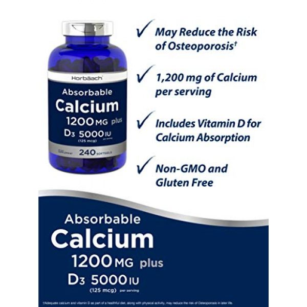 Horbach Calcium Supplement 5 Absorbable Calcium + D3 | 1200 mg | 240 Softgels | 5000 IU Vitamin D3 | Non-GMO, Gluten Free Supplement | by Horbaach