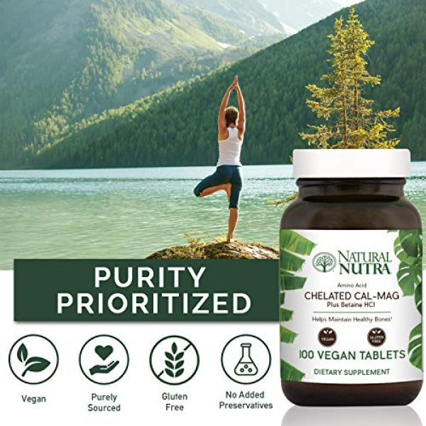 Natural Nutra Calcium Supplement 4 Natural Nutra Chelated Cal Mag 1000/500 mg Supplement Plus Betaine HCL, Improves Bone Strength and Density, Muscle Health, Healthy Teeth, Supports Cardiovascular System, Nerve Health, 250 Vegan Tablet