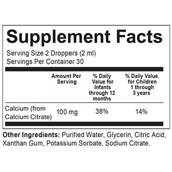 Infantum Calcium Supplement 6 Infantum Calcium, 2 Fl Oz (Gluten Free, Nut Free, Sugar Free) Children and Infant Drop Liquid Supplement - Childsafe Dropper Included - cGMP Compliant & Made in USA