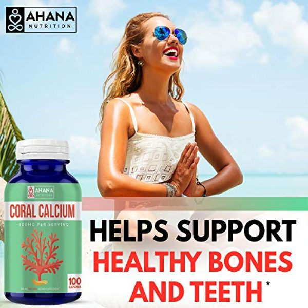 Ahana Nutrition Calcium Supplement 3 Coral Calcium Capsules by Ahana Nutrition - Calcium Pills to Support Bone and Teeth Health, Healthy Digestion, PH Balance and Overall Wellness (500mg - 100 Easy to Swallow Pills)