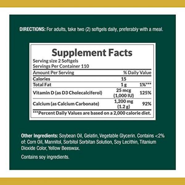 Nature's Bounty Calcium Supplement 3 Calcium & Vitamin D by Nature's Bounty, Immune Support & Bone Health, 1200mg Calcium & 1000iu D3, 220 Softgels