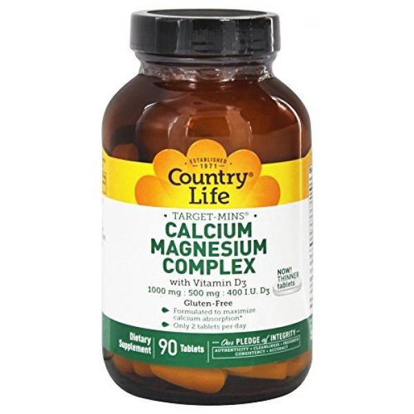 Country Life Calcium Supplement 2 Country Life - Target-Mins Calcium Magnesium Complex with Vitamin D3-90 Tablets