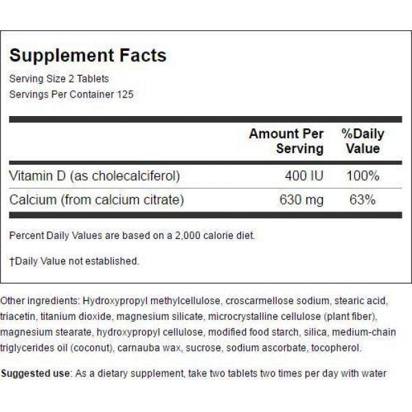 Swanson Calcium Supplement 3 Swanson Calcium Citrate & Vitamin D 250 Tabs