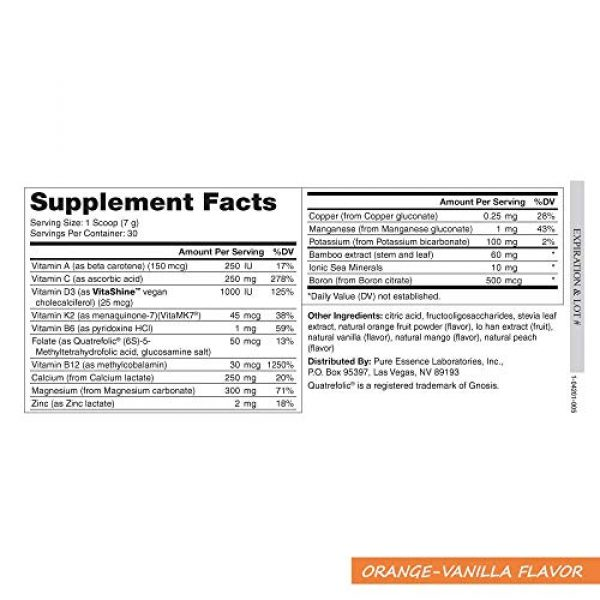PURE ESSENCE LABS Calcium Supplement 3 Pure Essence Ionic Super D-K Calcium Plus by Pure Essence - With Extra Magnesium, Vitamin D3, Vitamin K2 For Strong Bones and Stress Relief - Orange Vanilla - 7.41oz