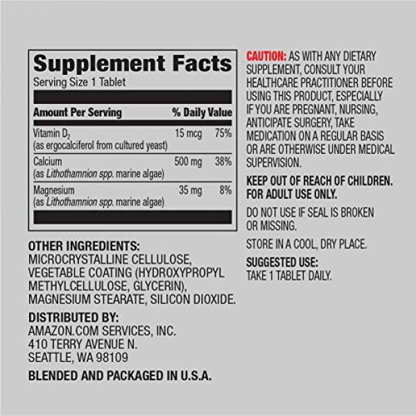 Amazon Elements Calcium Supplement 2 Amazon Elements Calcium plus Vitamin D, Calcium 500mg with D2 600IU, Vegan, 65 Tablets (2 month supply) (Packaging may vary), Supports Strong Bones and Immune Health