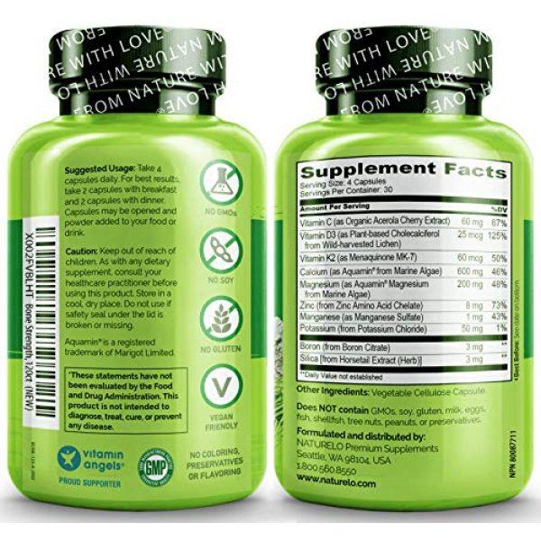 NATURELO Calcium Supplement 5 NATURELO Bone Strength - Plant-Based Calcium, Magnesium, Potassium, Vitamin D3, VIT C, K2 - GMO, Soy, Gluten Free Ingredients - Whole Food Supplement for Bone Health - 120 Vegetarian Capsules