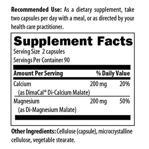 designs for health Calcium Supplement 4 Designs for Health Cal/Mag 1:1 - 200mg Chelated Magnesium Malate + 200mg Calcium Malate Supplement - Non-GMO, Highly Absorbable Bone Support Nutrients (180 Capsules)