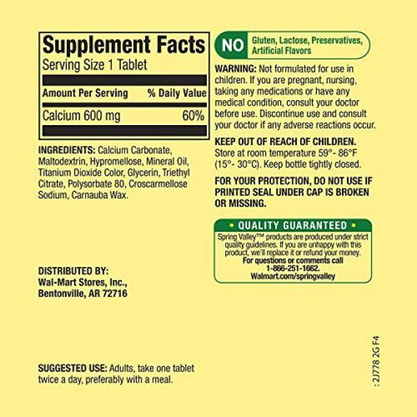 Spring Valley Calcium Supplement 2 Spring Valley - Calcium 600 mg (Pack of 2) 200 Total Coated Tablets