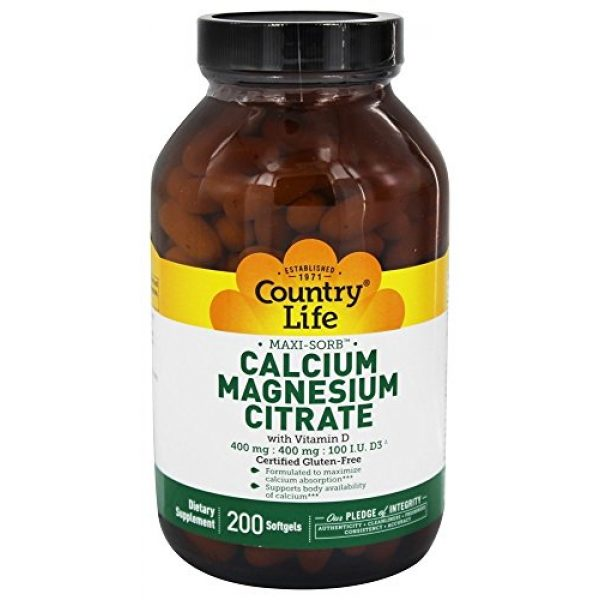 Country Life Calcium Supplement 1 Country Life Maxi-Sorb Calcium Magnesium Citrate w/ Vitamin D - 200 Softgels - Formulated to Maximize Calcium Absorption