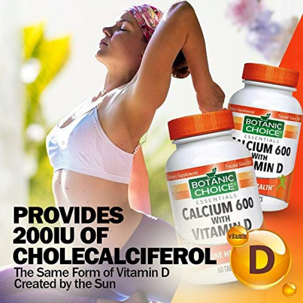 Botanic Choice Calcium Supplement 3 Botanic Choice Calcium 600 with Vitamin D - Adult Daily Supplement - Combines Essential Vitamins and Minerals to Support Proper Absorption Promotes Bone Health and Overall Wellness