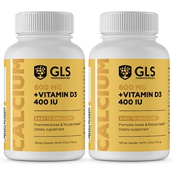 GLS Pharmaceuticals Calcium Supplement 1 Calcium 600 mg with Vitamin D3 400 IU - Pure and Natural Vegan Caps - Bone and Joint Health Supplement for Women and Men - 120 Easy to Swallow Mini Calcium Pills 2 Pack - Bone Support Capsules by GLS