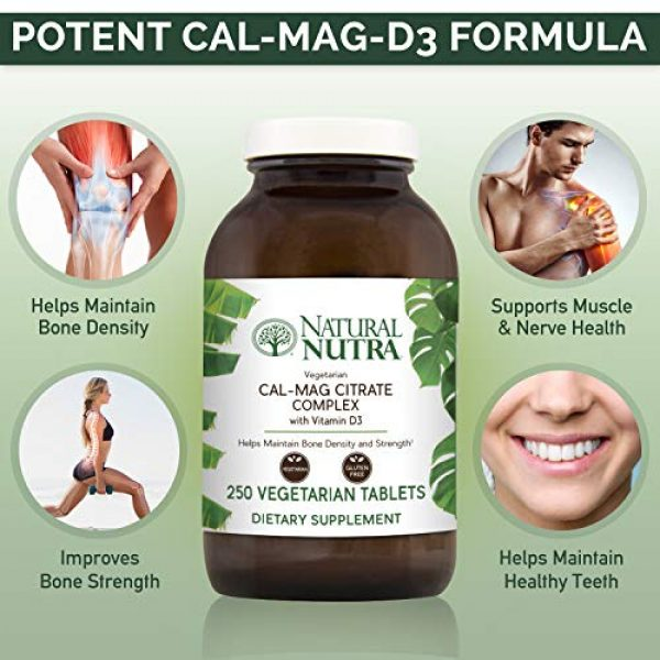 Natural Nutra Calcium Supplement 3 Natural Nutra Cal-Mag Citrate with Vitamin D3, Calcium, Magnesium, 1000/500 mg Complex, Strengthen Bone Density, Muscle and Nerve Health, Highly Bioavailable Sources of Ascorbate, 250 Vegan Tablets