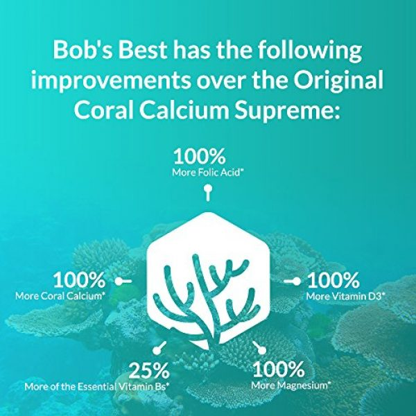 Robert Barefoot Calcium Supplement 4 Bob Barefoot Coral Calcium Supreme 1000mg - 2 Bottles - 90 Caplets Each - New Improved Formula - Made From Pure Marine Grade Okinawa Coral Calcium - With Essential Vitamins + 75 Trace Minerals