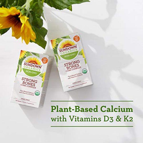 Sundown Calcium Supplement 5 Sundown Organics Strong Bones Core Complex, Plant-Based Calcium Supplement with Vitamin D3 & K2, Gluten Free, 100% Non-GMO, 30 Tablets
