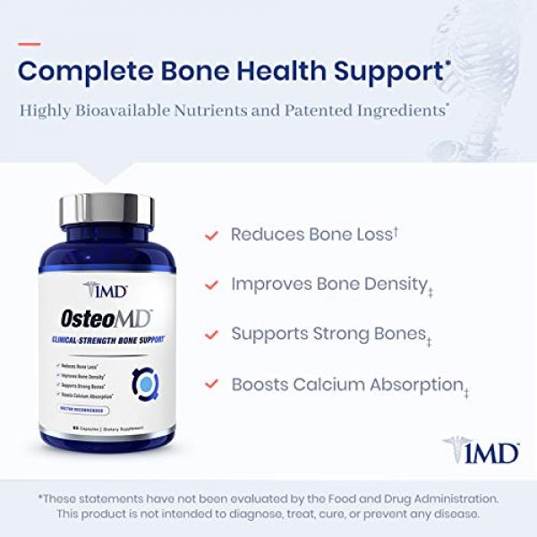 1MD Calcium Supplement 6 1MD OsteoMD, Promotes Bone Strength 60 Capsules